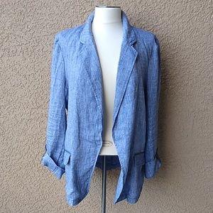Caslon Linen Open Front Blazer Jacket